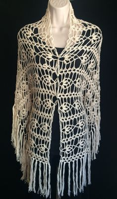 Valentina Shawl beautiful handmade crochet boho style shawl - Kalalani Creations - 1 Crochet Scarves, Crochet Shawl, Crochet Stitches, Crochet Hooks, Knit Crochet, Crochet Patterns, Diy Clothing, Crochet Accessories, Fabric Crafts