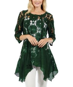 Look what I found on #zulily! Lily Hunter Green Floral Embroidered Handkerchief Tunic by Lily #zulilyfinds