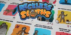 New Reckless Sloths Board Game - Sloth Of The Day Pictures Of Sloths, Cute Pictures, 123 Cards, Tickle Fight, Board Games For Kids, Game Calls, Pissed Off, Day Wishes, News Games