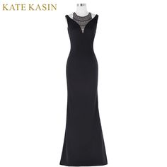 Kate Kasin Halter Beaded Evening Dress 2017 Floor Length Sleeveless Formal Dress Vestido De Festa Black Mermaid Evening Gown