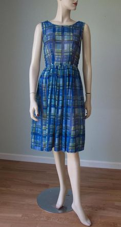 Cotton Gauze Summer Day Dress / Cool Blue Plaid / Sheer and Light and Pretty for Summer / Cotton Dress / Small Summer Day Dresses, Vintage Summer Dresses, Vintage Outfits, Date Dresses, 50s Dresses, Cotton Dresses, 1950s Fashion, Vintage Fashion, Fitted Bodice