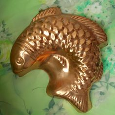 Gorgeous 1970s Vintage Decorative Copper Jelly Mould in a FISH Shape Lookx