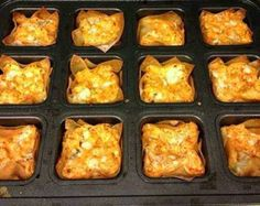 Buffalo Chicken Cups  Ingredients 12 oz of chicken (diced or shredded) 1 (8 ounce) package cream cheese, softened 1/2 cup Ranch dressing 1/2 cup Buffalo wing sauce (Frank's is the brand I like) 1 cup shredded cheddar cheese, divided 24 wonton wrappers 1/4 cup blue cheese crumbles  Directions 1. Preheat oven to  Click for full recipe.