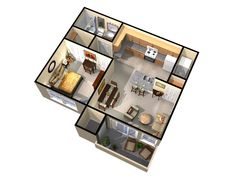 3d floorplan from one of the units in the brookside downtown apartment development for the whole project, see: