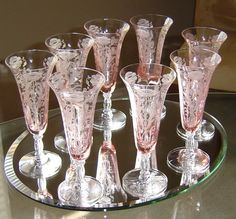 "(8) Pink TIFFIN Flanders 6-3/4""  parfait stems elegant glass Ca: 1910-1935. 680USD"