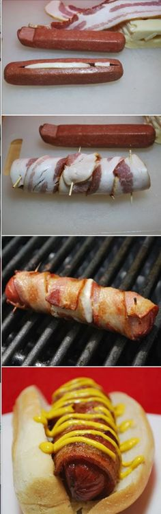 Funny pictures about Cheese Stuffed Bacon Wrapped Hot Dog. Oh, and cool pics about Cheese Stuffed Bacon Wrapped Hot Dog. Also, Cheese Stuffed Bacon Wrapped Hot Dog. I Love Food, Good Food, Yummy Food, Awesome Food, Easy Summer Meals, Summer Recipes, Summer Bbq, Summer Fresh, Summer Time