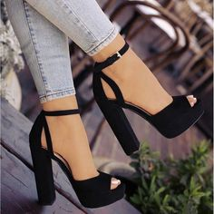 Women Sandals Peep Toe High Thick Heel Shoes Pump Platform Ankle Pumps Chunky