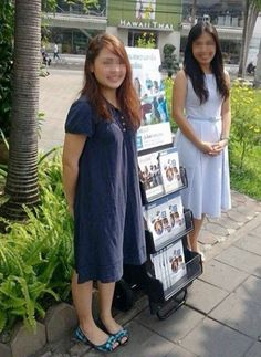 Bangkok, Thailand - Two sisters public witnessing with #literature_cart.