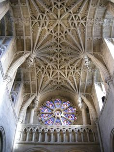 The pendant vaulting at Oxford. The Norman interior of a very small cathedral has a late Gothic vault of rare design Gothic Architecture, Concept Architecture, Architecture Design, Norwich Cathedral, Section Drawing, Modern Drawing, Architectural Section, Medieval, Oxford