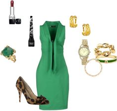 This Kelly Green Dress & These Animal Print Pumps - what a striking combo!!!