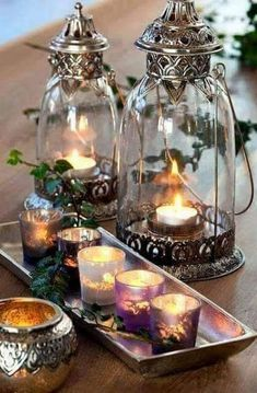 Candles and lanterns - Ana Rosa Bougie Partylite, Bougie Candle, Chandelier Bougie, Candle In The Wind, Water Candle, Candle Lanterns, Silver Lanterns, Votive Candles, Advent Candles