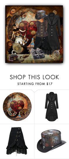 """""""Steampunk"""" by janie-xox ❤ liked on Polyvore featuring Overland Sheepskin Co., HADES and steampunk"""