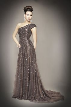 Mac Duggal Fall 2012 Plus Size Dresses - Gunmetal Sequin Embellished Tulle One Shoulder Couture Gown - Sizes: 2 - 18 ($1,598.00)