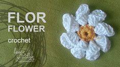 Folded flower crochet motif with 8 folded petals Tutorial Flor Crochet Crochet Motifs, Crochet Flower Patterns, Crochet Yarn, Crochet Stitches, Bobble Crochet, Blanket Crochet, Thread Crochet, Knitted Flowers, Fabric Flowers