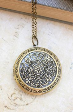 Large Round Locket Necklace Gold Floral