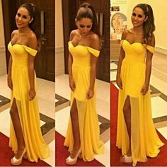 Prom Dresses,2018 Open-Back Cheap Long Yellow Front-Slit Off-the-shoulder Chiffon Sleeveless Evening Dress PD20181042