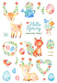 Hola primavera. Acuarela animales y clipart floral ciervos | Etsy