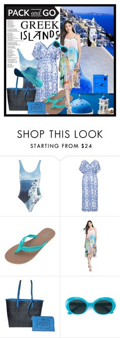 """""""PACK TO GO - GREEK ISLAND"""" by purplerose27 ❤ liked on Polyvore featuring Orlebar Brown, Mat, Volcom, Clover Canyon, Coach, Yves Saint Laurent, Packandgo and greekislands"""
