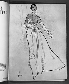 """Illustration by Gruau for House of Dior  1949-50  (Dior named this dress """"Gruau""""  after his illustrator friend."""