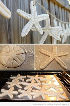 Garland Sea Star salt dough, wedding decoration on the beach Decembe .- Garland Sea Star Salzteig, Hochzeitsdeko am Strand Deco Marine, Beach Wedding Decorations, Wedding Beach, Trendy Wedding, Beach Weddings, Wedding Favors, Wedding Themes, Rustic Wedding, Beach Centerpieces