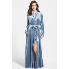 Jonquil Long Velvet Robe ($128) ❤ liked on Polyvore featuring intimates, robes, velvet robe, long robe, dressing gown, jonquil robe and long bathrobe