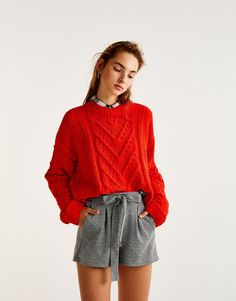 Tailored shorts with tied belt - New - Woman - PULL&BEAR Turkey