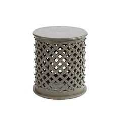 Carved Wood in light grey finish Bornova Side Table
