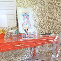 hygge & west petal pusher wallpaper, coral desk | Rosa Beltran Design