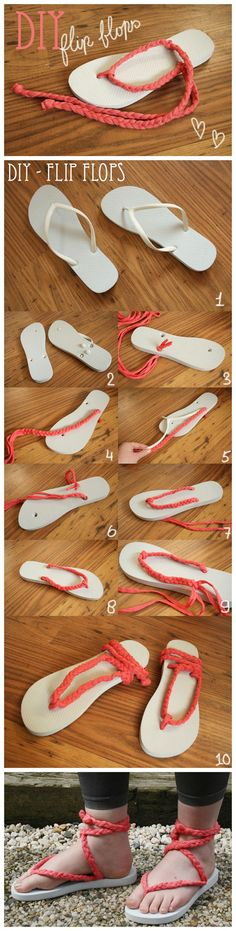 #DIY  Flip Flops #Tutorials So cute! They look like they would be more comfortable than normal flip flops! Lol :)