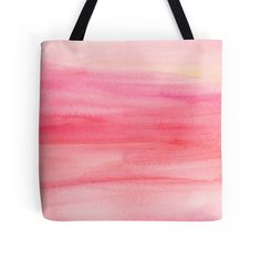 Pink Ombre Watercolor Tote Bag, coral pink wash tote bag, watercolour accessories, choice of size bag