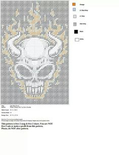 FLAMING DEVIL SKULL (CANNOT MAKE OUT TITLE OF DESIGN OR THE DESIGNERS NAME ON THIS PATTERN OR I WOULD LIST THAT INFO)