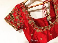 Simple yet classy ! Zardosi worked bridal blouse from Ishithaa design house. Beautiful red color designer blouse with floret lata and parrot design hand embroidery zardosi work. Ping on 9884179863 to book an appointment. Best Blouse Designs, Bridal Blouse Designs, Saree Blouse Designs, Blouse Styles, Simple Embroidery Designs, Embroidery Works, Hand Embroidery, Blouse Models, Work Blouse
