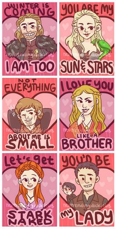 Game of Thrones Valentines from The Epitome of Comedy.