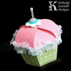 Cupcake Shaped Box Template Set and Cutting Files