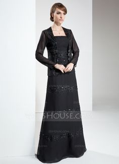 A-Line/Princess Strapless Floor-Length Chiffon Mother of the Bride Dress With Lace Beading Sequins (008006304)at JJsHouse.com *Like the JACKET!
