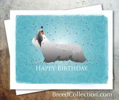 Skye Terrier Dog Birthday Card from the Breed Collection - Digital Download