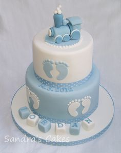 Christening cake with train  inspired by The Designer Cake Company
