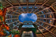 Looking up from inside Gaudi's La Pedrera aka Casa Mia in Barcelona, Spain... What a sight!