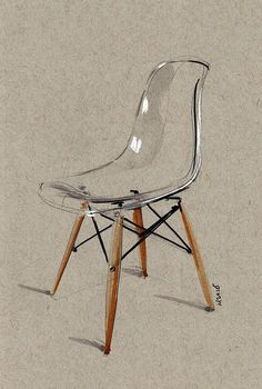 Image of Transparent Eames Side Chair sketch LIMITED EDITION of 20 prints - design sketches tutorials Interior Design Sketches, Industrial Design Sketch, Sketch Design, Interior Rendering, Metal Chairs, Side Chairs, Room Chairs, Dining Chairs, Eames Chairs