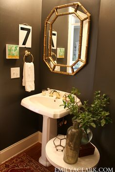 Sherwin Williams Urbane Bronze. Our Powder Room Makeover: From Damask to Dark - Emily A. Clark