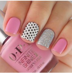 35 cute and colorful nail design for your kids nail nail polka dot nails,. Dot Nail Art, Polka Dot Nails, Pink Nails, My Nails, Polka Dots, Nail Art For Kids, Pink Manicure, Sparkle Nails, Colorful Nail Designs