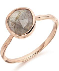 Monica Vinader Rose Gold Vermeil Labradorite Siren Stacking Ring