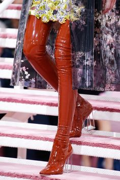 Christian Dior Cage Heel Boots   Christian Dior by Raf Simmons   Haute Couture Fall 2015 Runway Collection    From the collection inspired by David Bowie's eclectic looks   Order this item on RESEE.com  