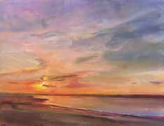 """Ferry Beach Sunset"" by Holly Ready. Oil on Panel. 14"" X 18"".  *SOLD* www.maine-art.com."