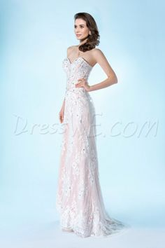 Dresswe.com SUPPLIES Gorgeous Column/Sheath Beading Lace Sweetheart Neckline Evening/Prom Dress Evening Dresses 2014 (2)