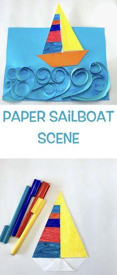 Paper Sailboat Scene