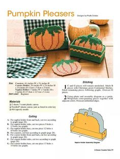 PUMPKIN PLEASERS by PHYLLIS DOBBS - NAPKIN HOLDER & COASTER SET 1/2