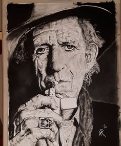 Keith Richards Rolling Stones Dry Brush Home made Harm Pelle Oil Paint