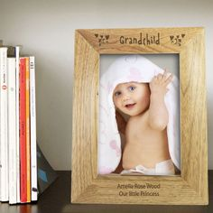 Personalise this Grandchild 6x4 portrait wooden frame with a message over 2 lines of 30 characters per line The word Grandchild is fixed All