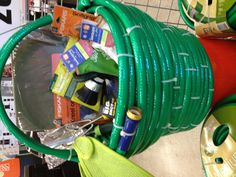 gardener gift basket hose zip tied together to make the basket filled with